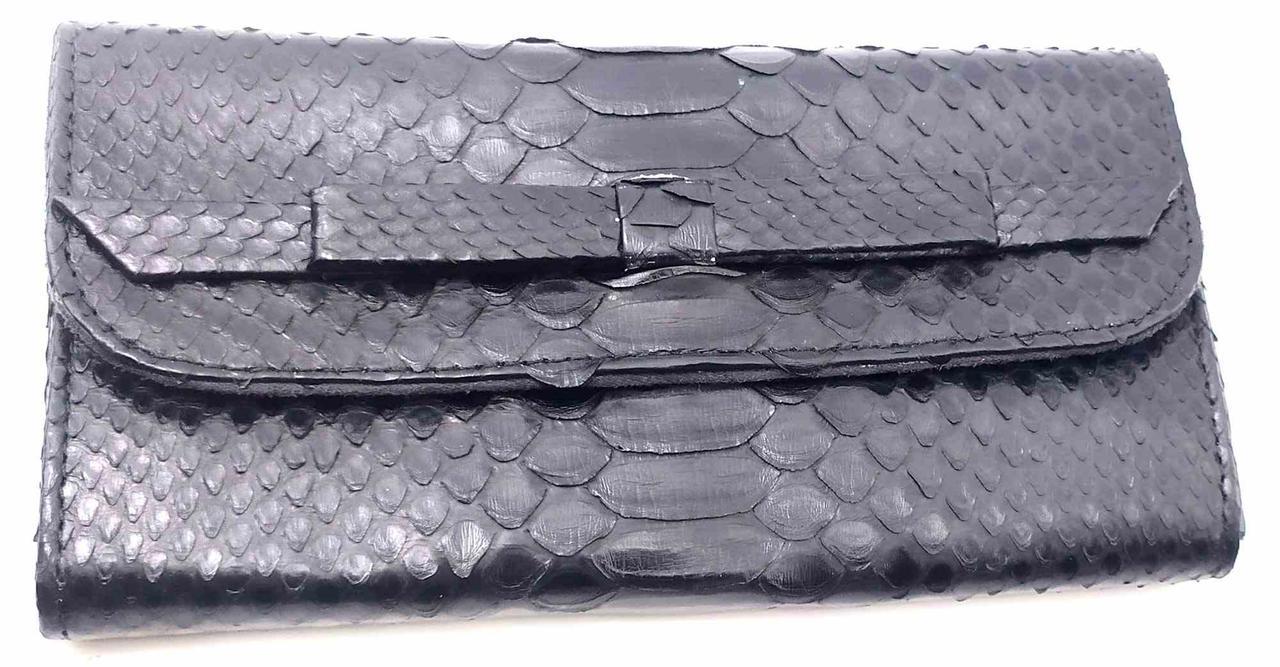 Кошелек Super Hit из кожи питона  (30х11х2 см) черный лак