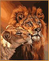 Картина по номерам на цветном холсте (в раме) 40Х50см Babylon Premium Львиная любовь