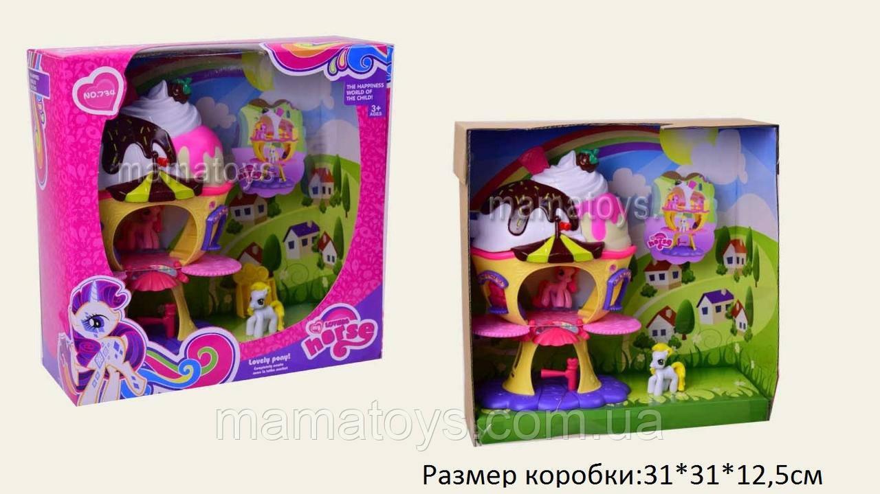 Домик MLP734с 2 пони, выдвижной балкончик My Little Pony в коробке 31*31*12,5 см