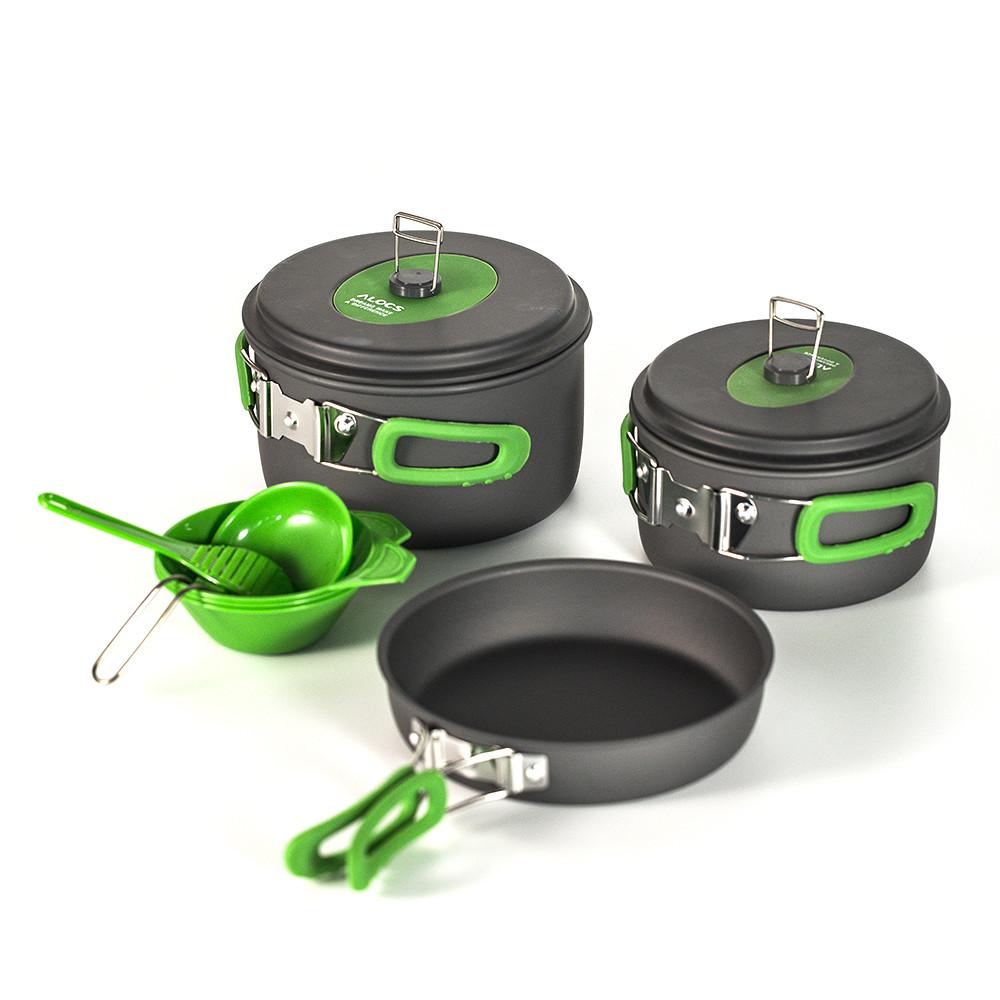 Туристический набор посуды Alocs из анодированного алюминия. Туристическая сковородка, кастрюля.