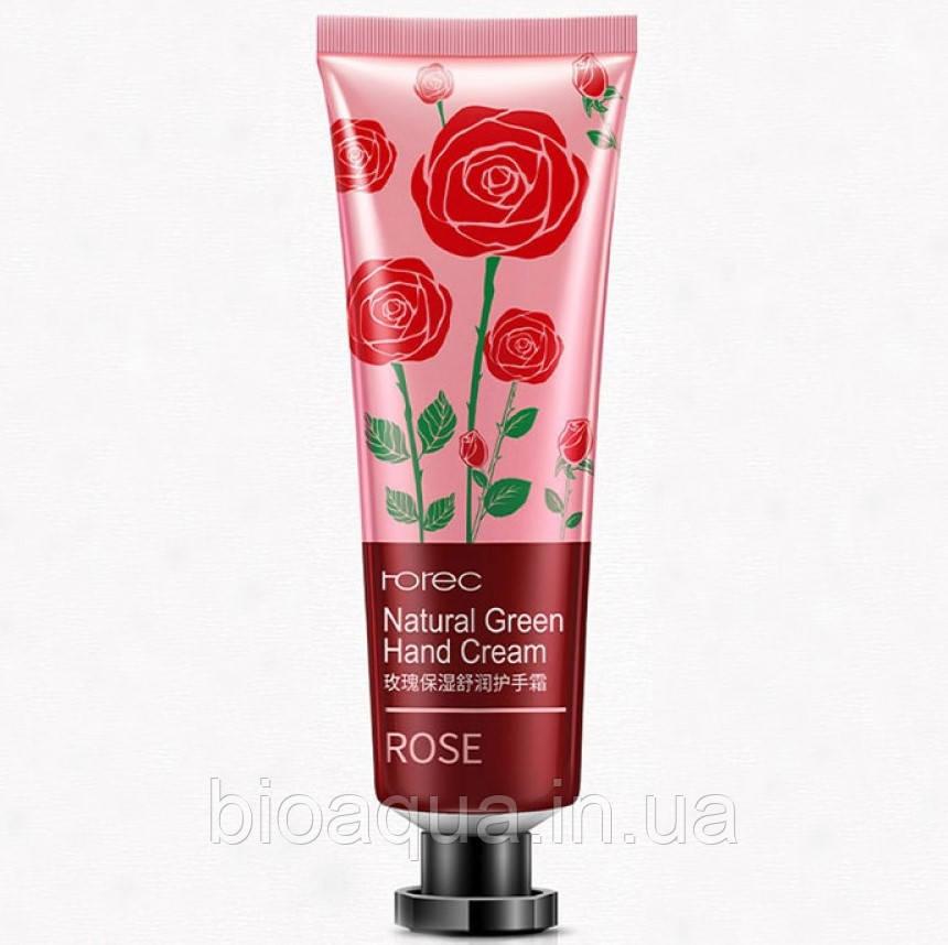 Крем для рук Rorec Natural Green Hand cream rose с натуральными экстрактом розы 30 g