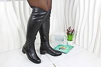 Черные кожаные ботфорты Berloni F79, фото 1