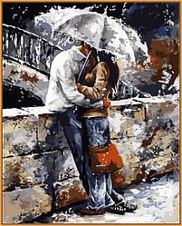 Картина по номерам в раме Любовь под дождем