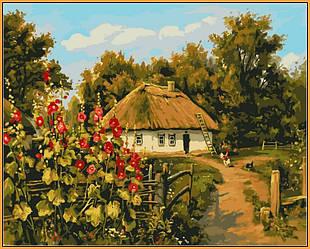 Картина по номерам в раме Сельская хата