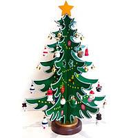Новогодняя елка деревянная настольная 17х11 см