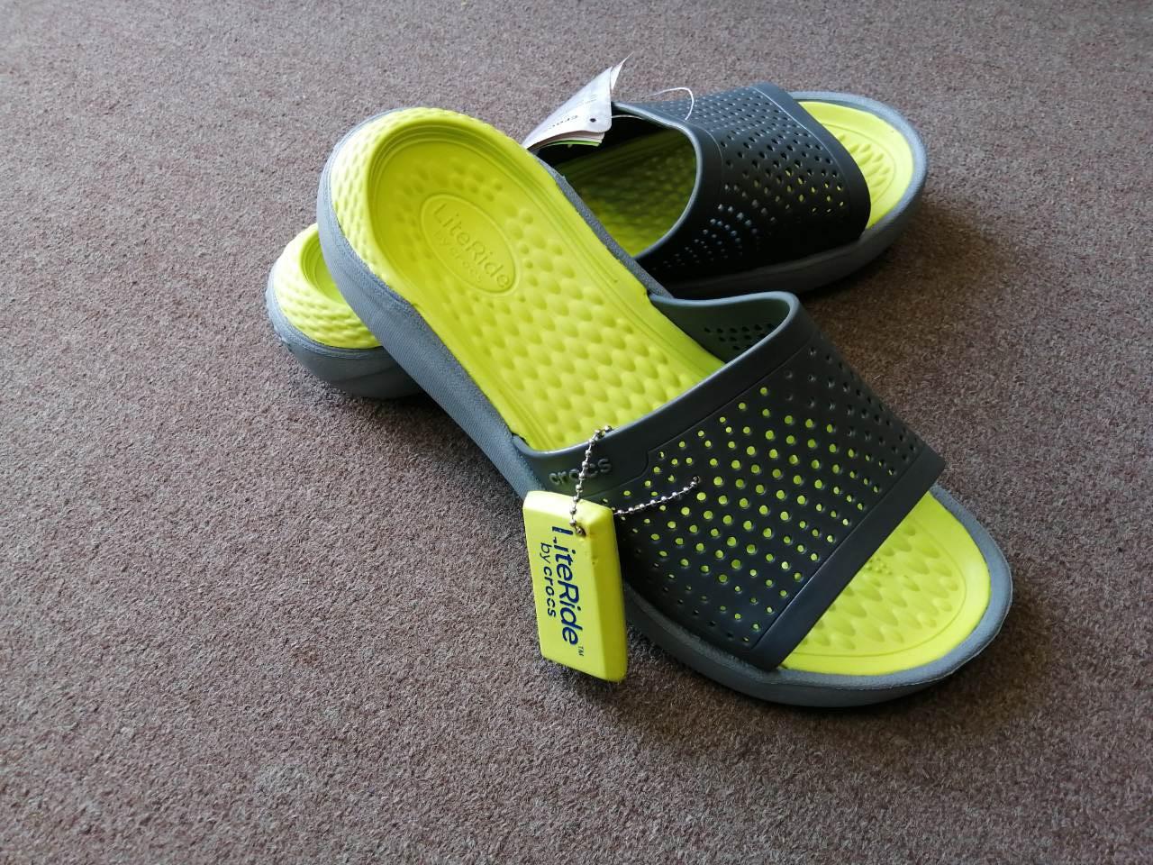 Шлёпанцы летние Crocs LiteRide Slide серые 44 разм.