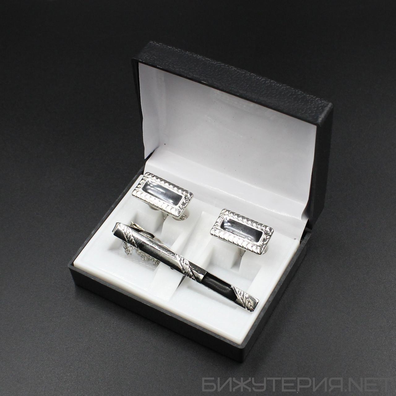 Набор 6 запонки и зажим для галстука в коробке JB - 1027746232