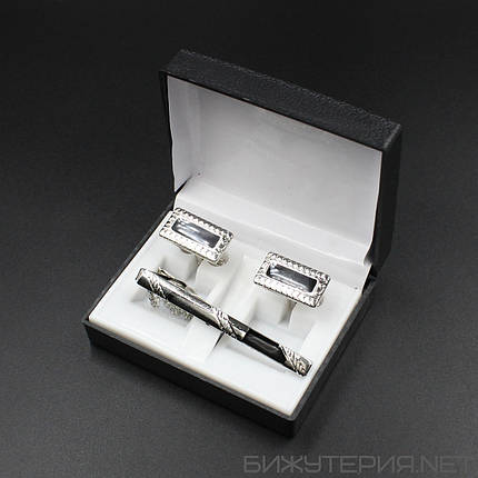 Набор 6 запонки и зажим для галстука в коробке JB - 1027746232, фото 2