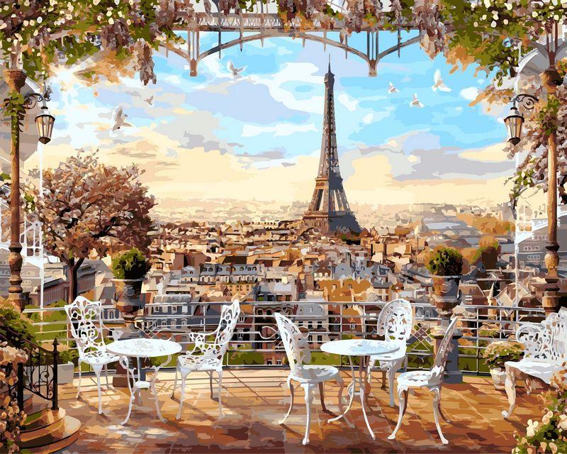 Картина по номерам на цветном холсте (в раме) 40Х50см Babylon Premium Кафе с видом на Эйфелеву башню