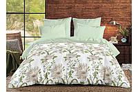 """Комплект постельного белья хлопковый полуторный с цветами """"GREEN LEAF"""""""