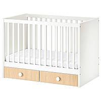 IKEA STUVA / FOLJA Детская кровать, белая, береза, 60x120 см (193.000.94)