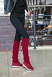 Женские демисезонные замшевые сапоги с довязом (бордовый), фото 6