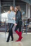 Женские демисезонные замшевые сапоги с довязом (бордовый), фото 7
