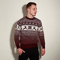 Мужской свитер с оленями бордовый