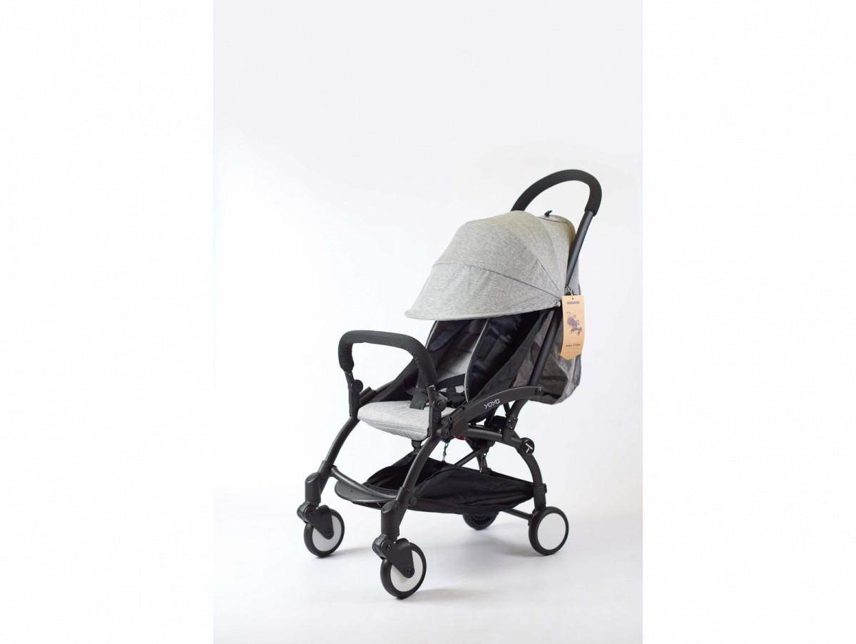 Детская коляска YOYA 175A+ Серый лен черная рама