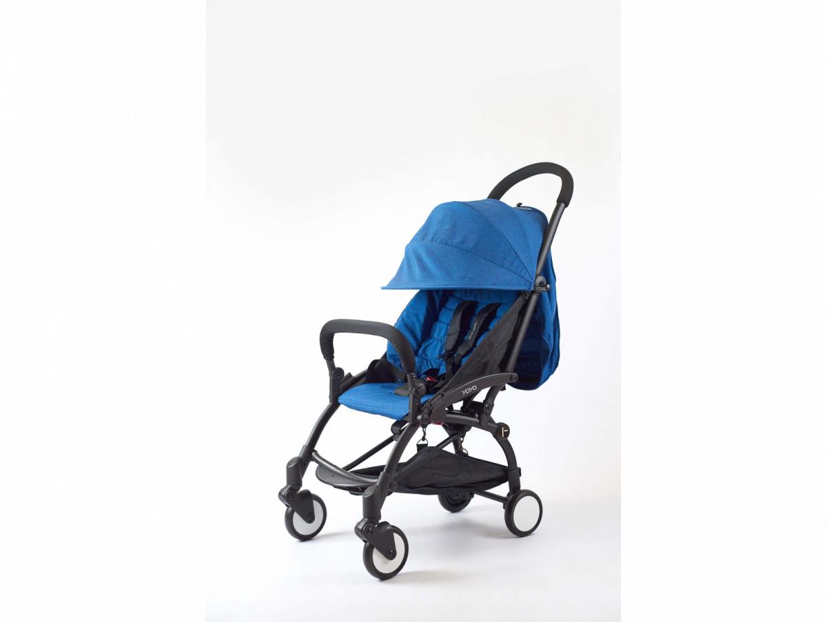 Детская коляска YOYA 175A+ Синий лен черная рама