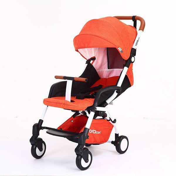 Детская коляска YOYA Care 2018 Оранжевая лен белая рама