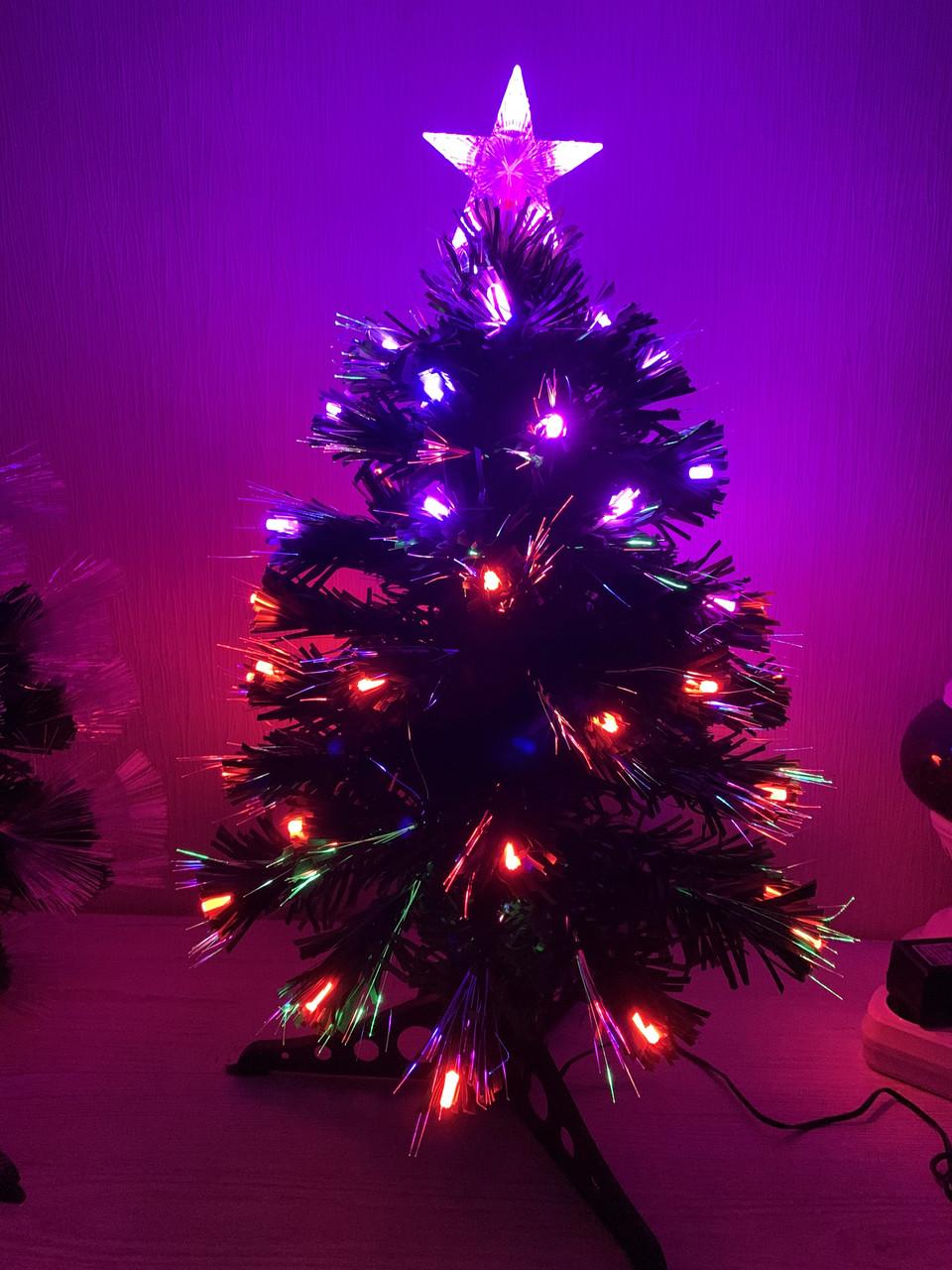 Елка новогодняя, светящаяся светодиодная оптоволоконная 60 см