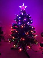 Елка новогодняя, светящаяся светодиодная оптоволоконная 60 см, фото 1