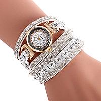 Наручные женские часы белые со стразами код 521