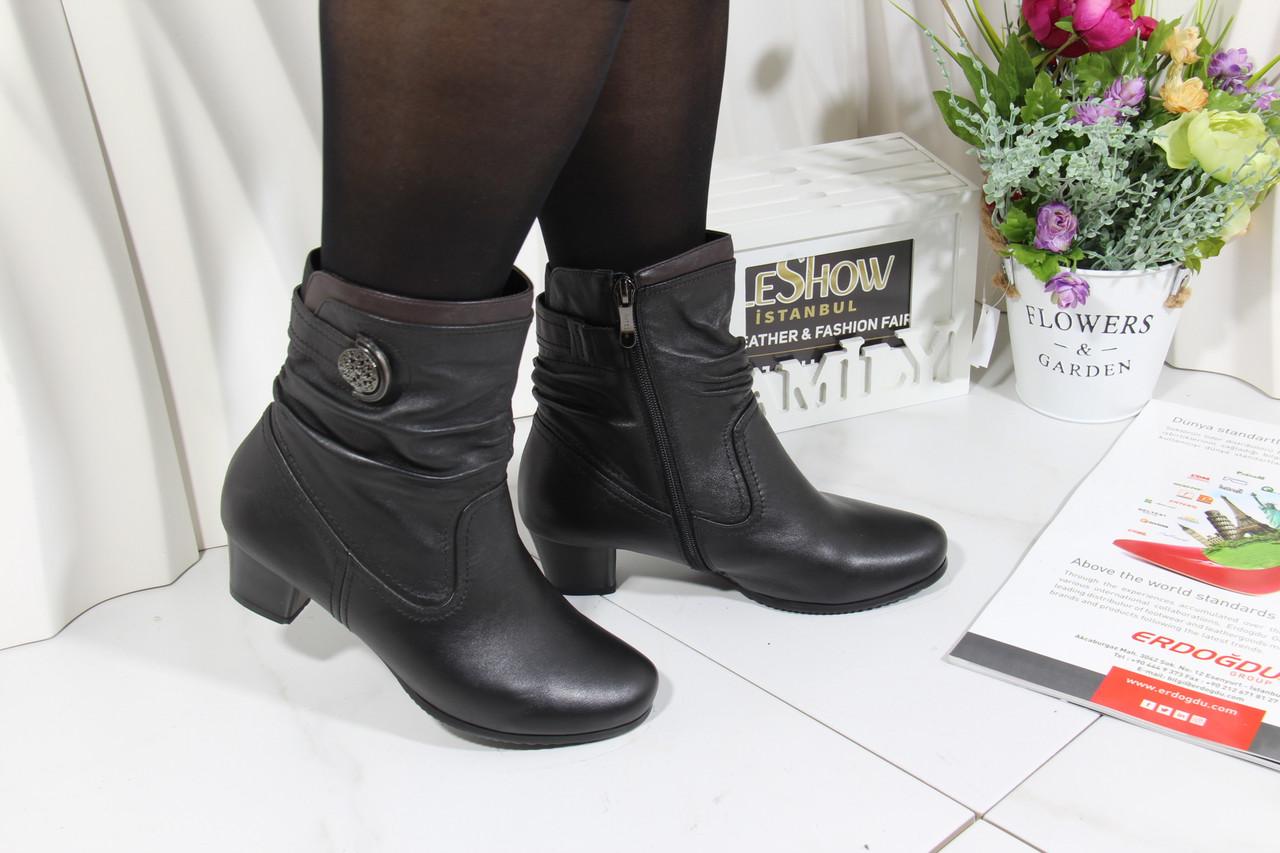 Черные ботинки кожаные Battine B665