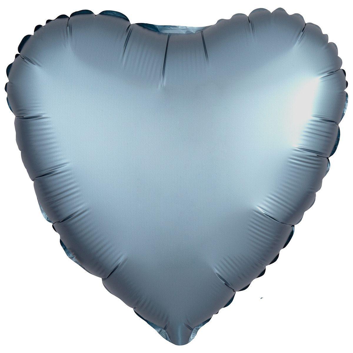 Фольговані кулі без малюнка серце 18/45 сатин синя сталь (США)
