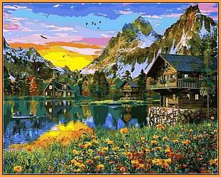 Картина для рисования по номерам ПРЕМИУМ в раме Пейзаж Альпийское озеро 40Х50см Babylon Premium