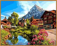 Картина для рисования по номерам ПРЕМИУМ в раме Пейзаж Швейцария 40Х50см Babylon Premium