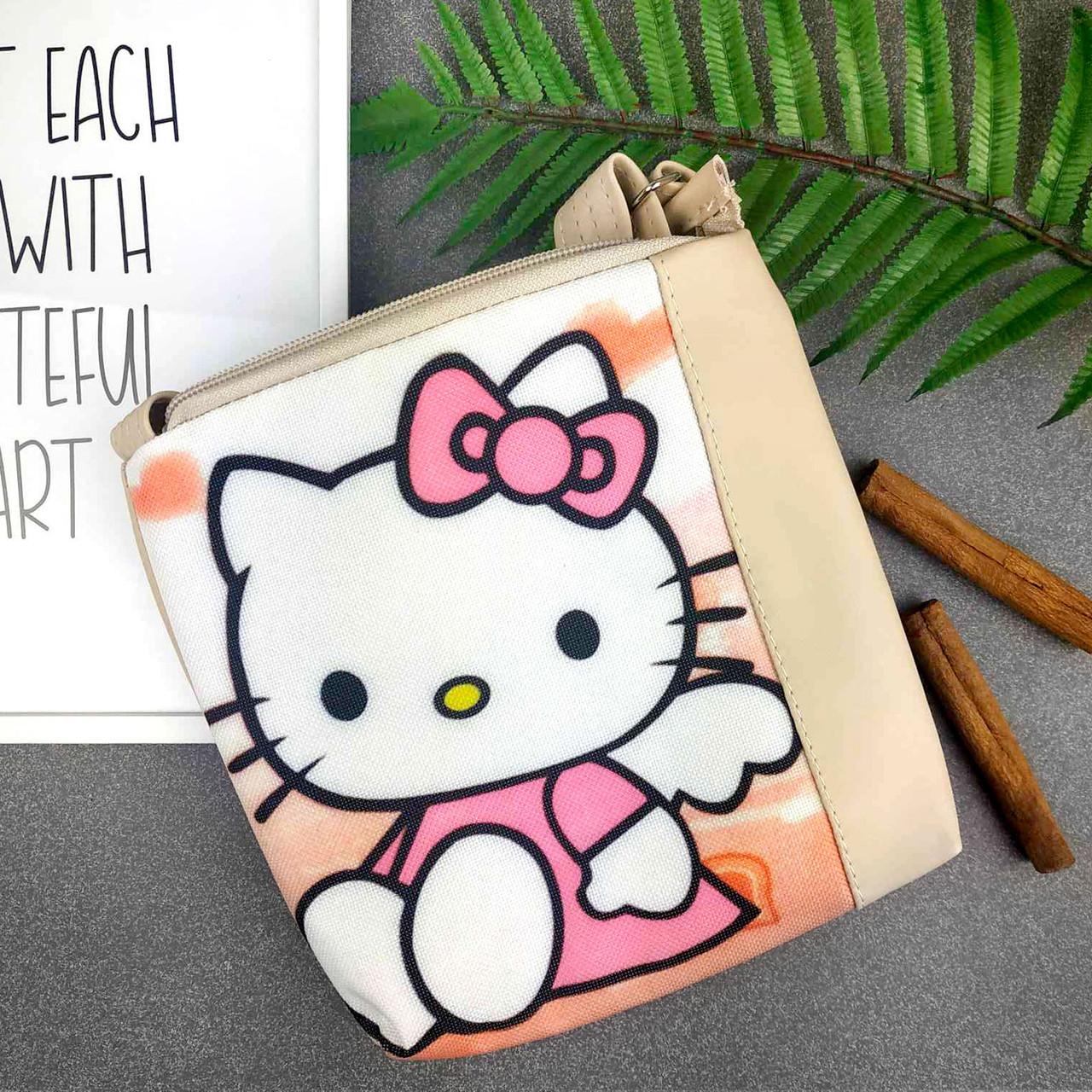 Сумка детская Mini Miss бежевая с рисунком Hello Kitty