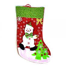 Новогодний носок для подарков Снеговик (54710)