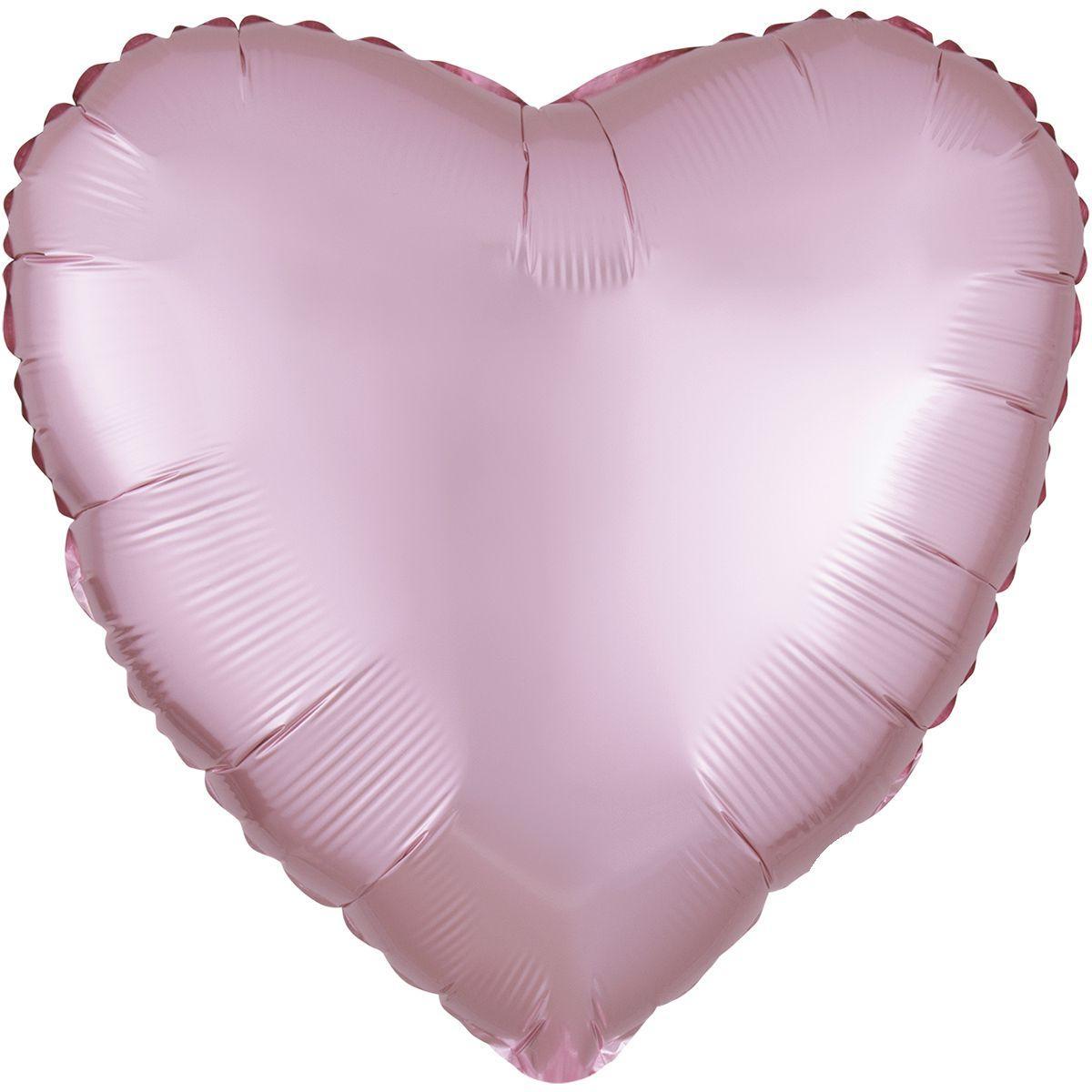 Фольговані кулі без малюнка серце 18/45 сатин світло рожеве (США)