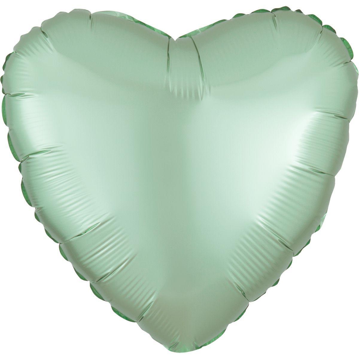 Фольговані кулі без малюнка серце 18/45   сатин м'ятна (США)