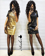 """Вечернее трикотажное мини платье с крупными пайетками """"Хамелеон"""", фото 1"""