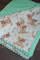 Детский плед в кроватку и коляску мишки тедди, из плюша Minky