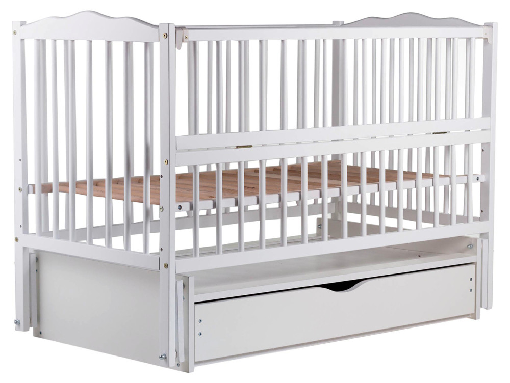 Кровать Babyroom Веселка маятник, ящик, откидной бок DVMYO-3  бук белый