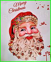 Интерьерная виниловая 40см 3D наклейка на окно стену новогодняя Санта Клаус Новый год Праздник Дед Мороз