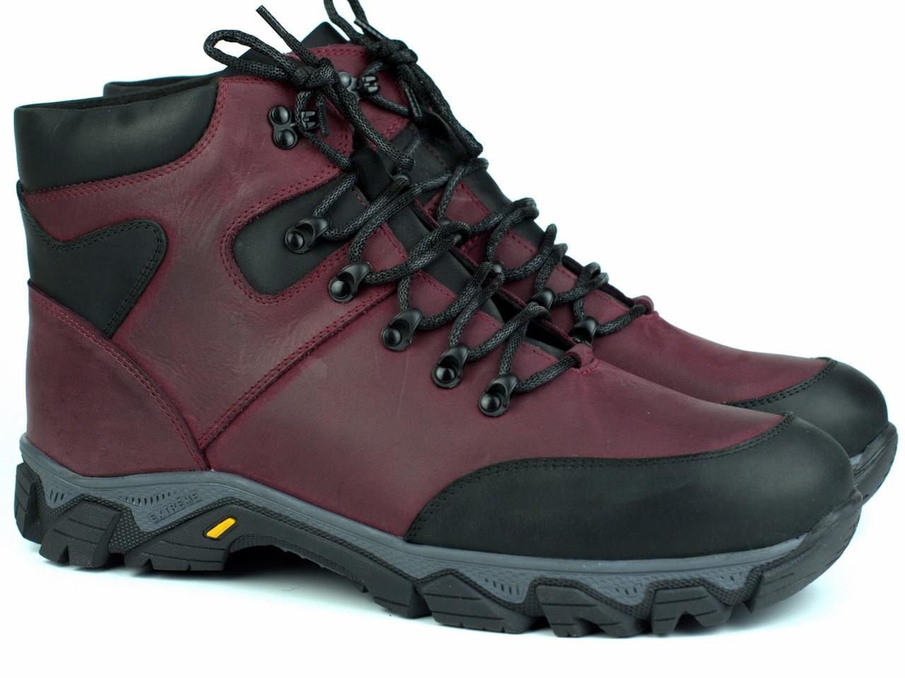 Зимние мужские бордовые кожаные трекинговые ботинки на овчине обувь Rosso Avangard Pro Lomerflex Burgu