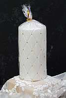 Свеча-столб белый 14*7 см белая с золотом, фото 1