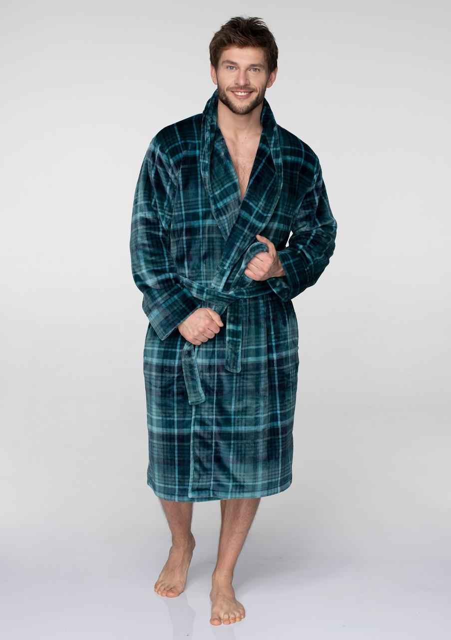 Чоловічий халат в клітинку для дому Key MGL-048