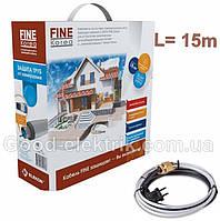 Обогрев водопровода греющий кабель 15м FINE KOREA 240Вт