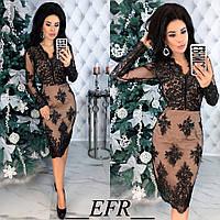 Шикарное женское коктейльное кружевное платье 42 44 46 черное бордовое бежевое