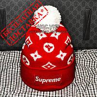 Стильная мужская вязаная шапка с бубоном Louis Vuitton Supreme красная трендовая новинка 2019 года реплика