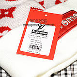 Модна чоловіча в'язана шапка з бубоном Louis Vuitton Supreme біла шерсть молодіжна трендова тепла репліка, фото 3