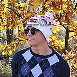 Модна чоловіча в'язана шапка з бубоном Louis Vuitton Supreme біла шерсть молодіжна трендова тепла репліка, фото 7