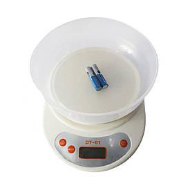 Кухонные электронный весы с чашей Domotec DT-01 + ПОДАРОК D1001  (S00197)