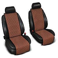Накидки на сиденье Эко-замша узкие (1+1) без лого, цвет коричневый Код: 3674627