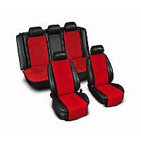 Накидки на сиденье Эко-замша узкие (комплект) без лого, цвет красный Код: 3674630