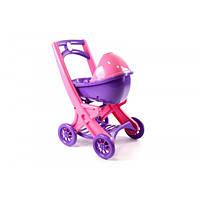 Коляска для кукол розовая, Візок для ляльок з люлькою 0121