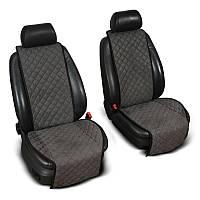 Накидки на сиденье Эко-замша широкие (1+1) без лого, цвет темно-серый Код: 3674643