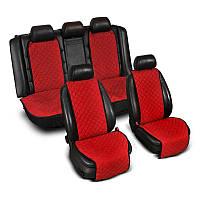 Накидки на сиденье Эко-замша широкие (комплект) без лого, цвет красный Код: 3674648